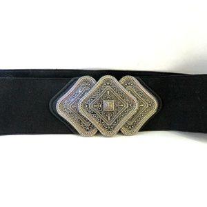 INC Black Trio Interlock Stretch Belt Size S/M